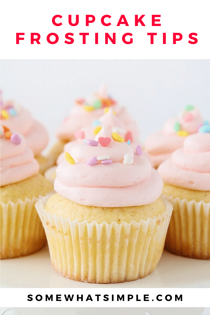 Today we're sharing how to frost cupcakes easily and beautifully every time! These frosting tips will make your cupcakes look like you just brought them them home from the bakery. #cupcakefrostingtips #homemadecupcakes #bakingtips #howtofrostcucpakes #cupcakedecoratingideas via @somewhatsimple