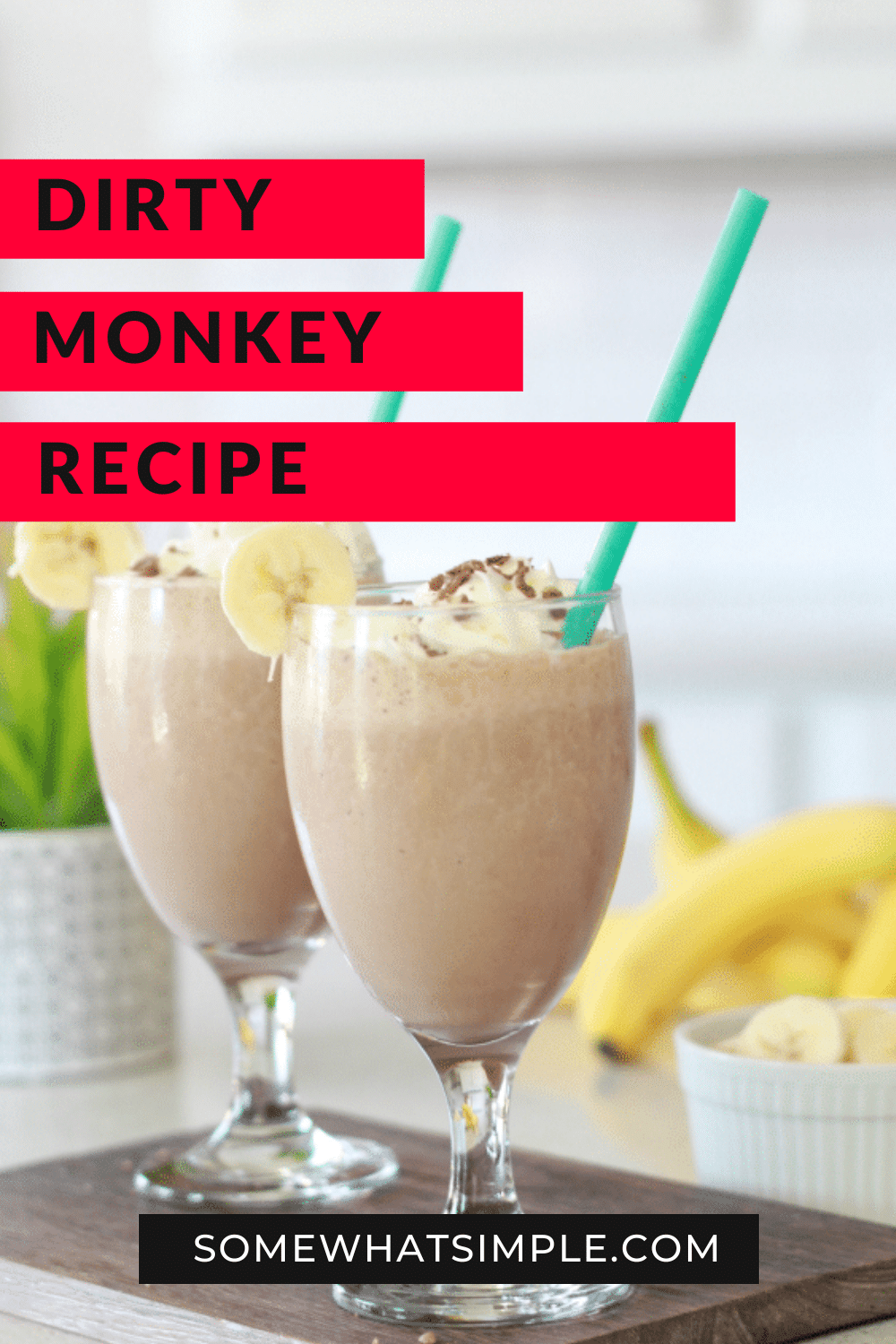 This non-alcoholic dirty monkey drink recipe is a delicious and easy frozen mocktail recipe. Made with bananas, cream and chocolate, this frozen drink recipe is a refreshing option for a sunny day. Some people call them dirty bananas or dirty monkeys but no matter what you call them, they're delicious! via @somewhatsimple