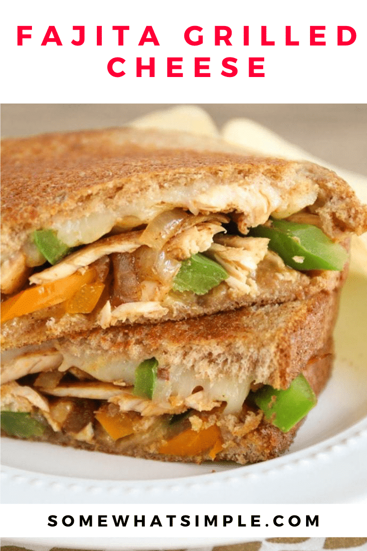 These chicken fajita grilled cheese sandwiches are super easy to make. Made with chicken, fresh vegetables and cheese, these sandwiches are packed with flavor! #grilledcheesesandwich #fajitagrilledcheese #chickenfajitagrilledcheese #chickenfajitasandwich #mexicanrecipe via @somewhatsimple