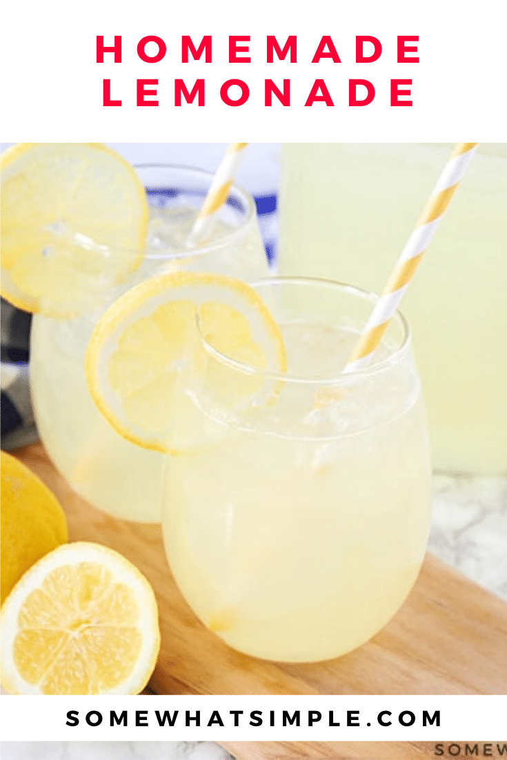 This homemade lemonade recipe delicious, refreshing and super easy to make. Made with fresh lemons and two other simple ingredients, it's the perfect drink to enjoy this summer!#lemonade #lemonaderecipe #homemadelemonade #easylemonaderecipe #besthomemadelemonade via @somewhatsimple