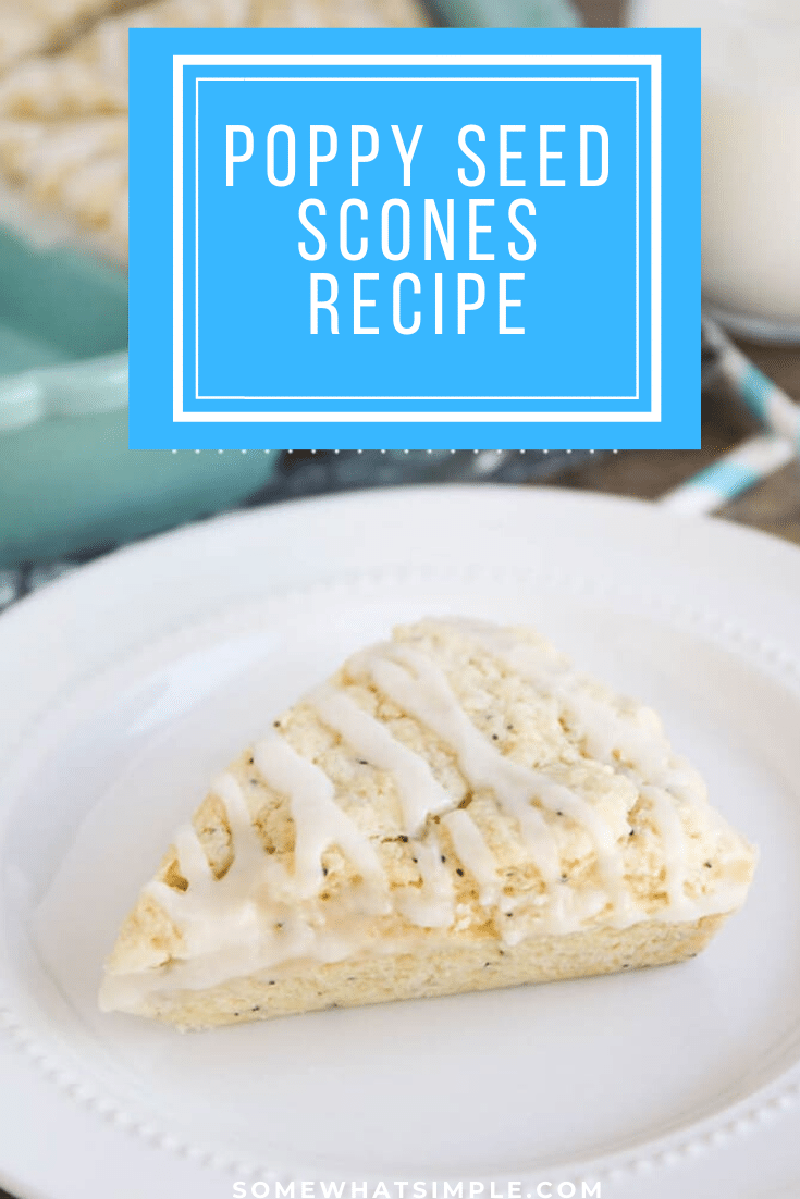 These almond poppy seed scones are soft and flaky. This scone recipe is super simple to make and tastes amazing!  Not only are the easy to make but they taste amazing! They make an easy and delicious breakfast or brunch! #poppyseedscones #howtomakescones #bestpoppyseedsconesrecipe #almondpoppyseedscones #sweetbreakfastrecipe via @somewhatsimple