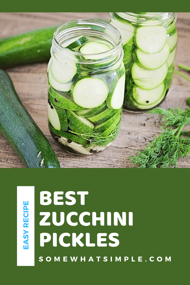 These garlic and dill zucchini pickles are so easy to make and so flavorful. They are a healthy and delicious way to use up all of your summer zucchini bounty! #zucchinipickles #garlicdillzucchinipickles #howtopicklezucchini #healthysnack #zucchinipicklesrecipe via @somewhatsimple