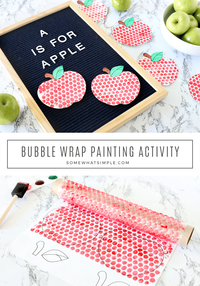 Make a darling apple craft, just in time for fall! Bubble wrap painting is a fun craft project the kids will LOVE! #apples #painting #bubblewrap #kidcraft #fall via @somewhatsimple
