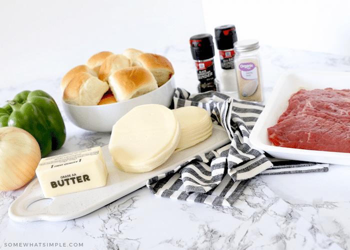 steak, cheese, vegetables, rolls and seasoning