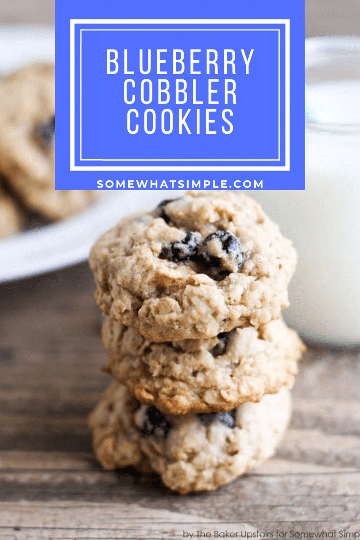 Enjoy your favorite dessert in cookie form with these tasty blueberry cobbler cookies. Made with oatmeal, blueberries and a few other simple ingredients, these cookies are easy and delicious. #blueberrycobblercookies #blueberrycookierecipe #oatmealblueberrycookies #easycookies via @somewhatsimple