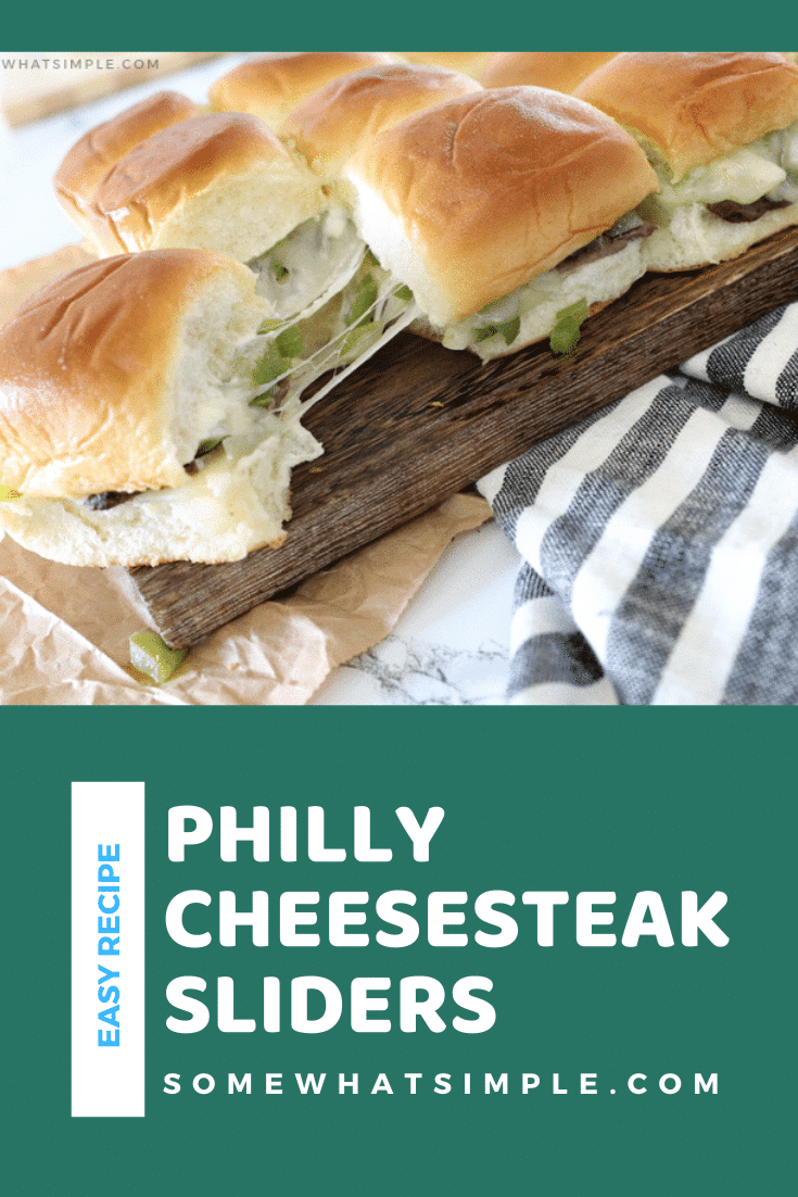 Philly Cheesesteak Sliders are made with thinly sliced steak, sautéed peppers and onions, melted Provolone cheese, and a special ingredient, all wrapped up on deliciously soft Hawaiian rolls! #sliders #phillycheesesteak #cheesesteakslidersrecipe #appetizers #phillycheesesteaksliders via @somewhatsimple
