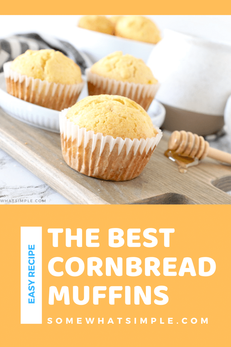 Cornbread muffins are deliciously sweet and so simple to make! They are the perfect complement to all your favorite Southern and Spanish-style meals! This classic recipe turns out soft and delicious every time! #easycornbreadmuffins #jiffycornbreadmuffins #cornbreadmuffinswithcorn #cornbread #cornmuffins via @somewhatsimple