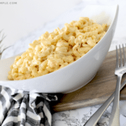 authentic hawaiian macaroni salad in a white serving bowl