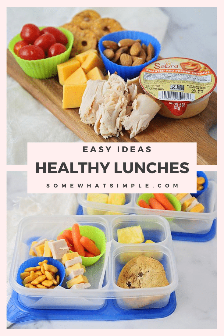 Time to get out of that PB&J rut and make school lunchtime more fun! Here are 6 easy and healthy school lunch ideas your kids will love!  #healthyschoollunchideas #bentolunchideas #bentobox #healthybentoboxideas #easybentoboxlunches via @somewhatsimple