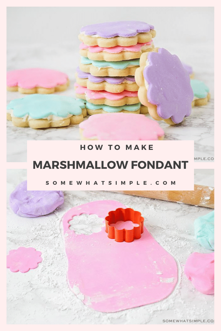 Marshmallow fondant is the perfect way to decorate cupcakes, cakes, and cookies like a professional! This recipe is super easy to make and takes only 15 minutes to do it! #fondant #marshmallowfondant #homemademarshmallowfondant #howtomakemarshmallowfondant #marshmallowfondantrecipe #fondantrecipe via @somewhatsimple