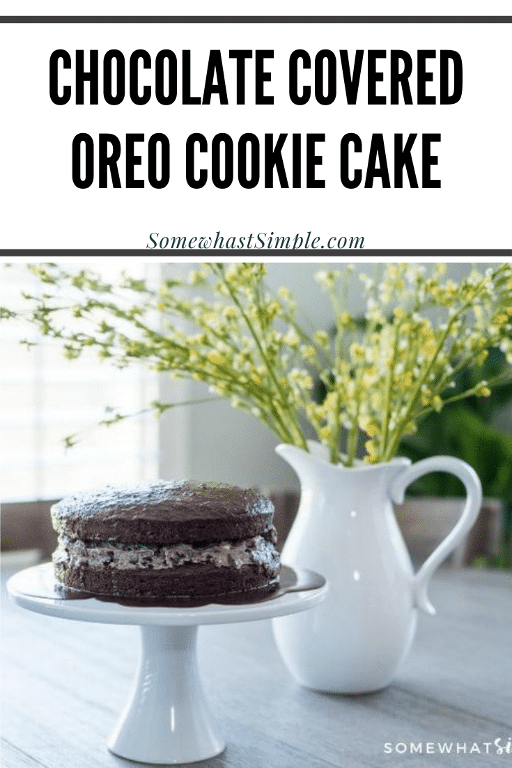 If you're looking for a simple cake that tastes amazing and will impress your party guests, this chocolate covered Oreo cookie cake recipe is for you!  Filled with pieces of Oreo cookies and smothered in chocolate, this cake will satisfy any sweet tooth! #oreocake #oreocookiecakerecipe #howtomakeanoreocake #oreocakerecipe #oreobirthdaycake via @somewhatsimple