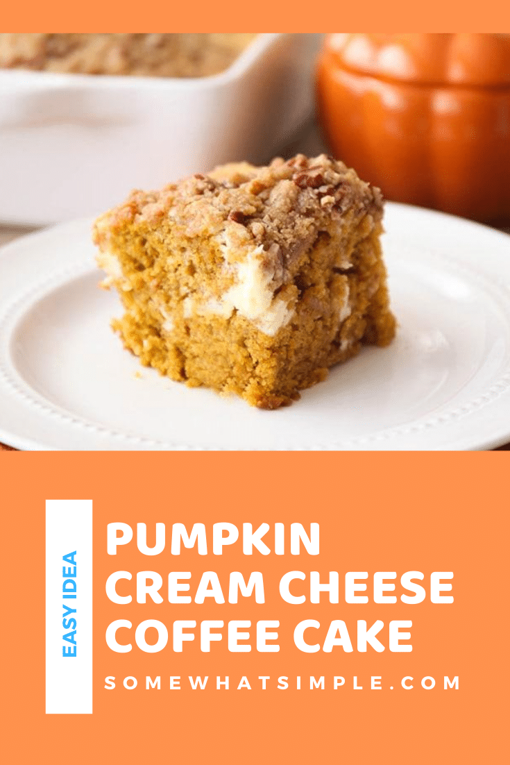 This pumpkin cream cheese coffee cake is so deliciously indulgent! Tender pumpkin cake with a sweet cheesecake layer, topped with a cinnamon pecan streusel. Made with cream cheese and pumpkin puree this coffee cake is going to knock your socks off! #pumpkincoffeecake #pumpkincreamcheesecoffeecake #falldesserts #easypumpkindessert #easypumpkincoffeecake via @somewhatsimple