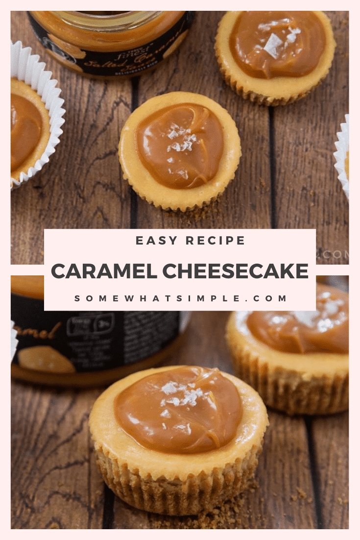 These Salted Caramel Cheesecake Cups might look sinful, but they are actually a lighter way to enjoy dessert! Even though they're made with lighter ingredients you'll never know by tasting them! #minicheesecakes #saltedcaramelcheesecakebites #saltedcaramelcheesecakecupsrecipe #easydessert #saltedcarameldessertidea via @somewhatsimple