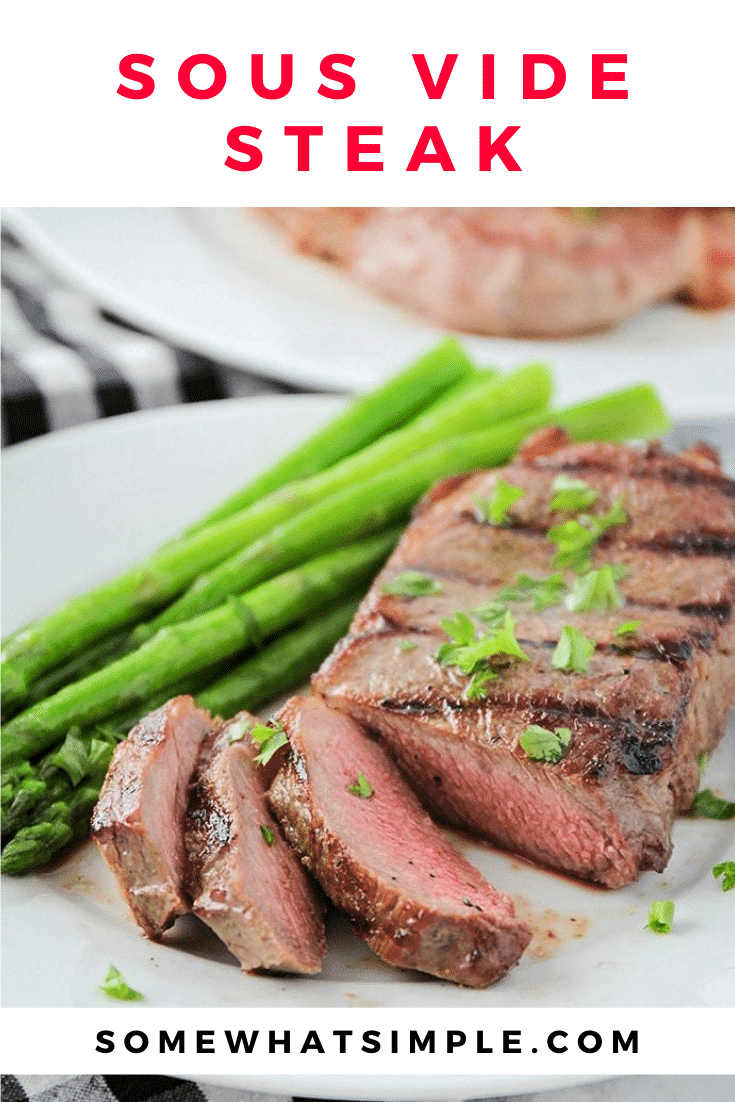 This garlic and herb sous vide steak is so tender, juicy, and flavorful. It's cooked to perfection using the sous-vide method for great results every time! #sousvidesteak #howtosousvidesteak #souvidesteakrecipe #sousvidesteaktemperature #sousvidesteakchart via @somewhatsimple