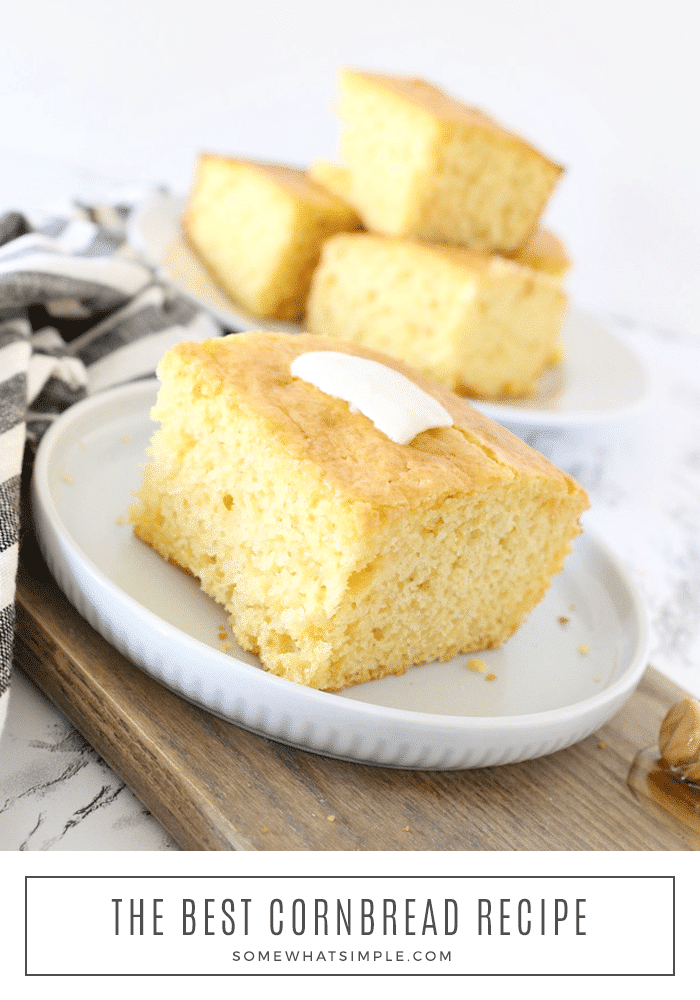 The best sweet cornbread recipe that is fluffy and delicious! This easy recipe will show you a short cut on how to make delicious cornbread using Jiffy cornbread and a box of cake mix. #cornbreadrecipe #cornbreadcakemixrecipe #sweetcornbread #jiffycornbreadrecipe #jiffycakemixcornbread via @somewhatsimple