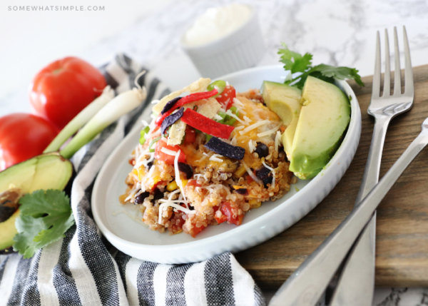 quinoa casserole with taco toppings