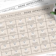 2 home improvement challenge calendars laid flat on a counter