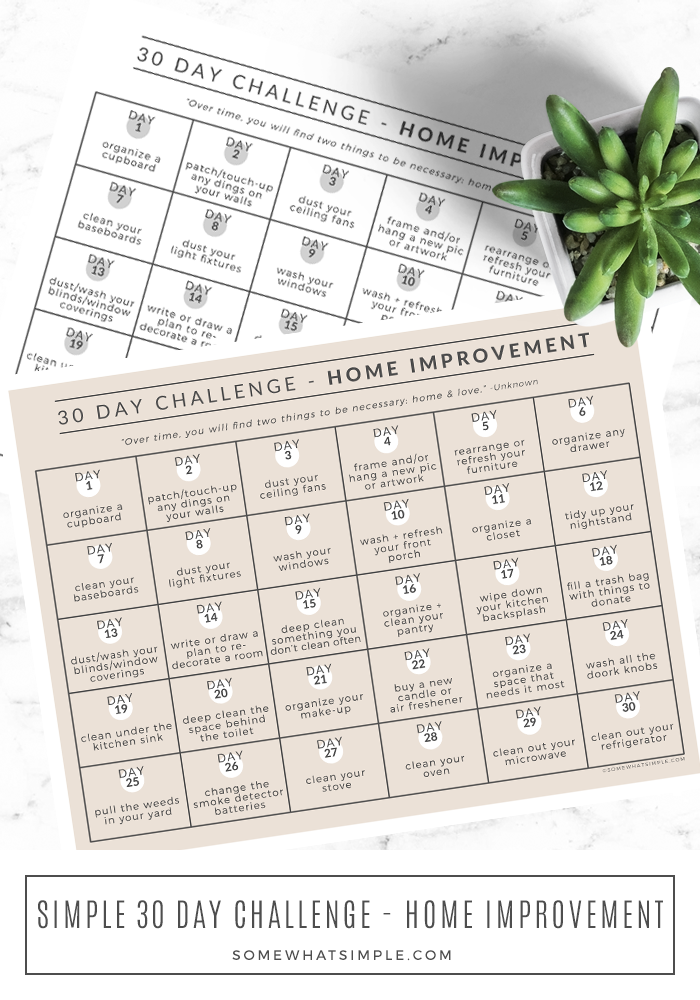 Get your home looking as good as new with our 30 Day Home Improvement Challenge! 1 simple task a day for 30 days... are you in?? #challenge #30day #calendar #home #improvement #DIY via @somewhatsimple