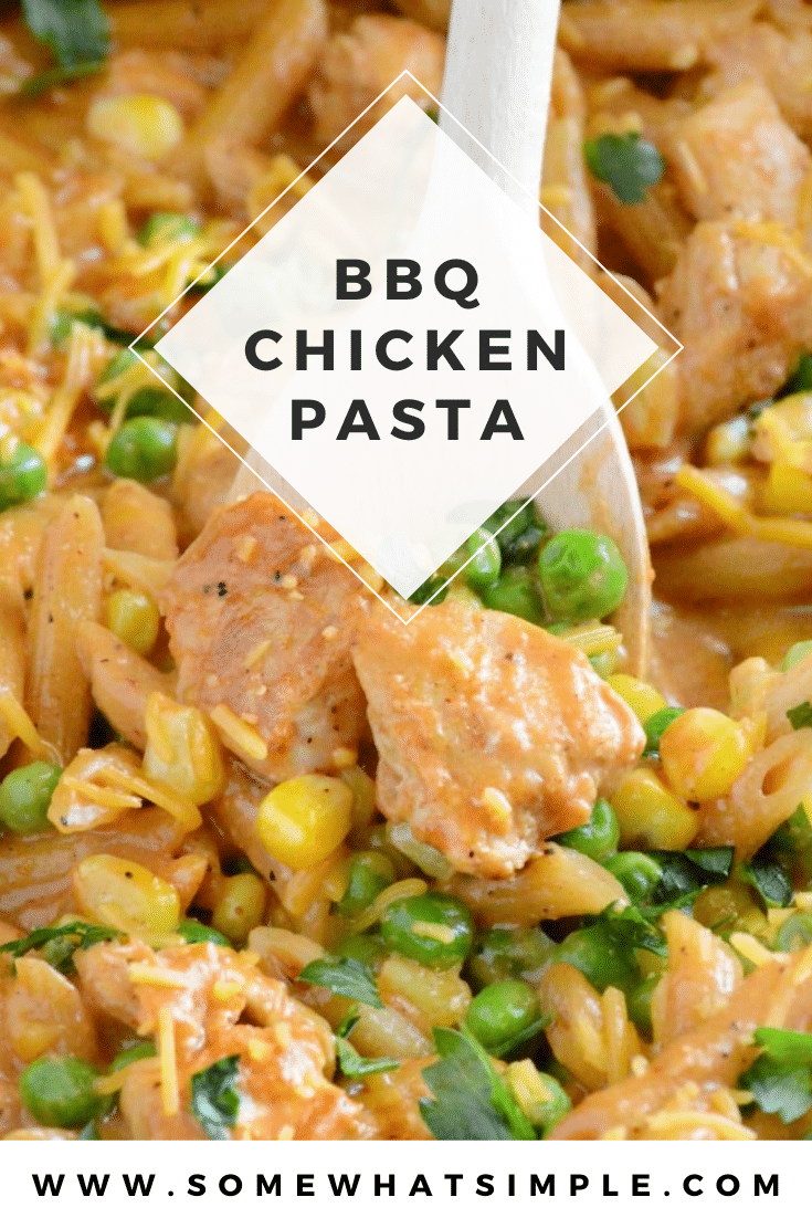 BBQ chicken pasta is a perfect dinner recipe for busy nights. This recipe is as easy as just throwing everything into the pan and cooking it. Made using one pan, it's easy to make and even easier to clean up. #bbqchickenpasta #onepotdinnerrecipe #easybbqchickenpastarecipe #chickenpasta via @somewhatsimple