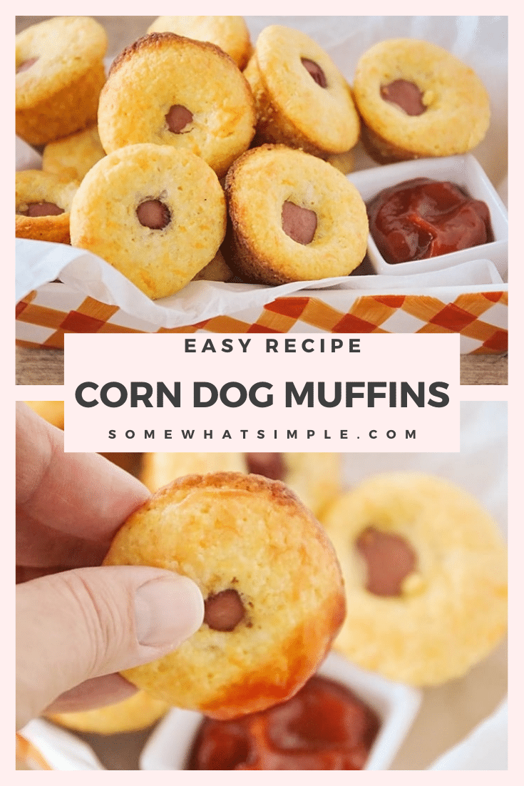 Corn dog muffins are perfect for lunch, an afternoon snack or a party appetizer! Made with Jiffy cornbread mix so they're easy to throw together and taste amazing! via @somewhatsimple