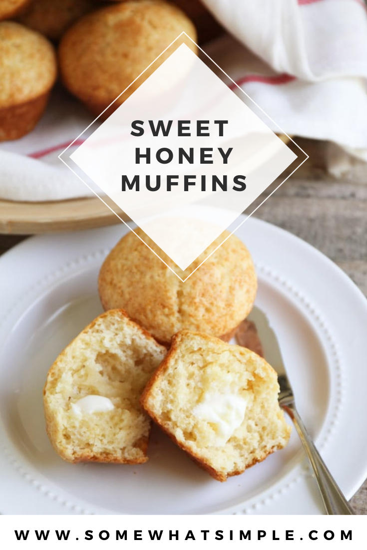 Honey muffins are a sweet and delicious way to start your day. They're easy to make and turn out soft and delicious every time! They're perfect as a side option for any dinner or just put a little butter on them and enjoy them as a snack. via @somewhatsimple