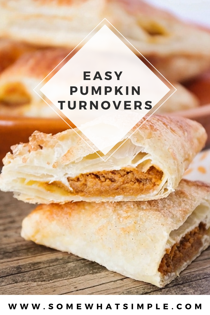 Pumpkin turnovers are the perfect dessert pastry to enjoy during the fall. They're easy to make and turn out soft and flaky every time! You can enjoy them for breakfast, brunch or just an afternoon snack and guaranteed to put a smile on your face. via @somewhatsimple