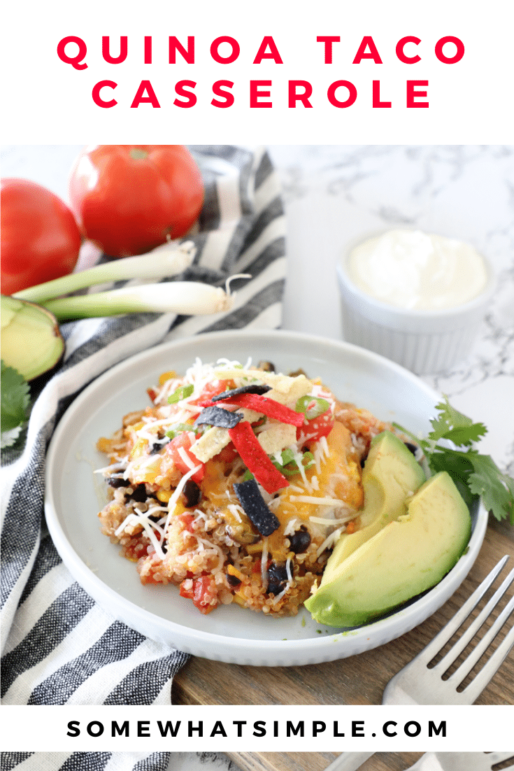 Quinoa taco casserole is a favorite 30-minute meal that is so tasty EVERYONE devours it... including my kids! Loaded with healthy quinoa and all of the delicious flavors of your favorite Mexican dish, this casserole will soon be one of your favorites too! #quinoacasserole #quinoatacocasserole #quinoacasserolefreezermeal #healthyquinoadinnerrecipe #quinoatacocasserolerecipe via @somewhatsimple