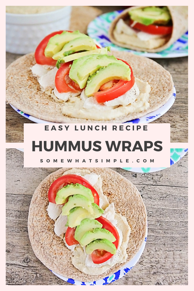 These chicken and hummus sandwich wraps are savory, delicious, and so easy to make. They're filled with homemade hummus, turkey and fresh vegetables. They're a tastyand hearty main dish that happens to be healthy too! via @somewhatsimple