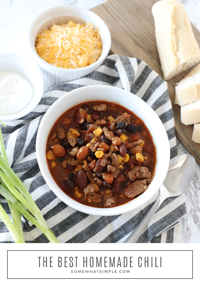This Instant Pot turkey chili is the best homemade chili you'll ever eat. The recipe uses only a few basic ingredients and is ready in about 30 minutes. Just brown the meat and then throw all of the ingredients into the pressure cook and let it works it's magic. Plus, you can easily substitute the turkey for beef if you prefer! via @somewhatsimple