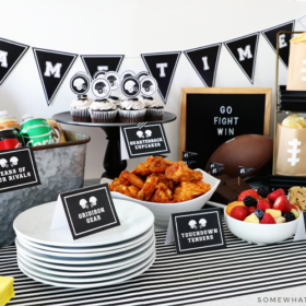 simple tailgating party with easy foods and printables