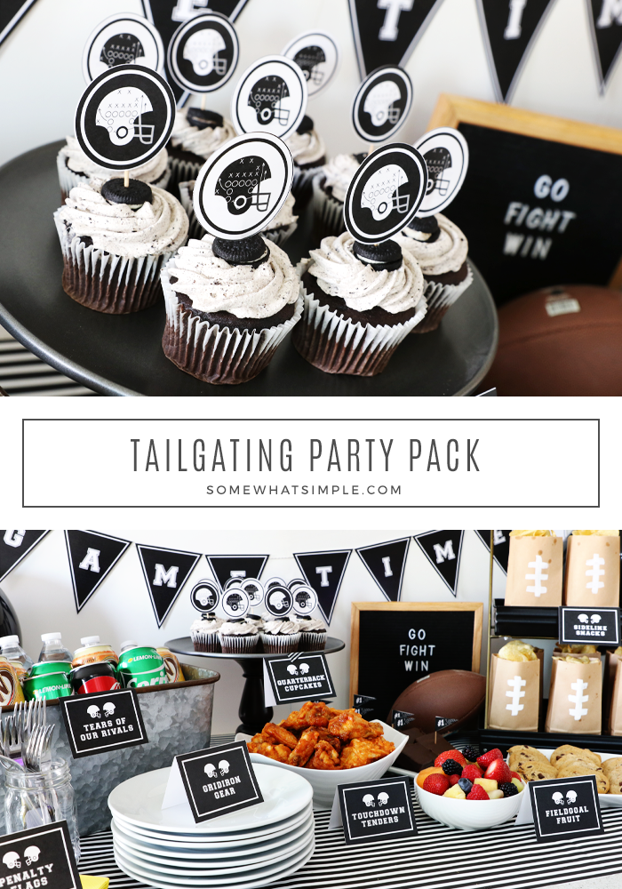 Get ready for the big game with a fun (and delicious!) tailgate party! Printable party decor and easy tailgating foods make a simple spread that will definitely impress your guests! #tailgate #tailgating #party #superbowl #printables #football via @somewhatsimple