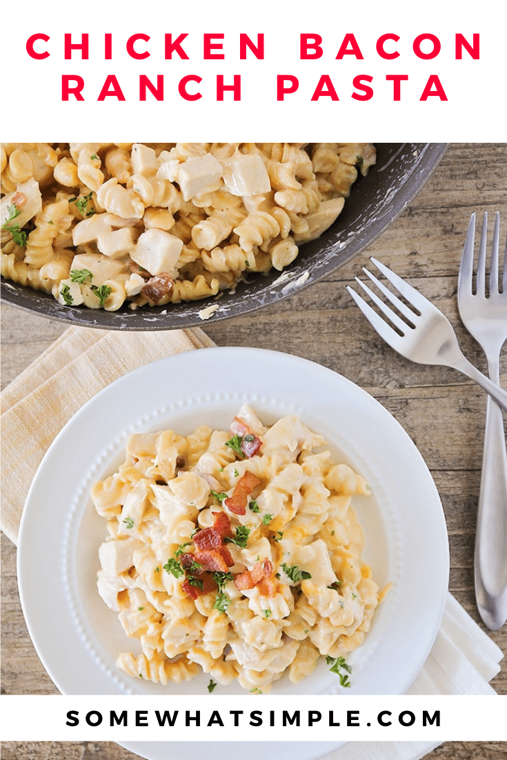 This chicken bacon ranch pasta is an easy dinner that takes only minutes to prepare. This creamy pasta recipe is loaded with chicken and bacon and tastes so good everyone is sure to love it! This dinner is perfect for a busy night that the entire family will love. via @somewhatsimple