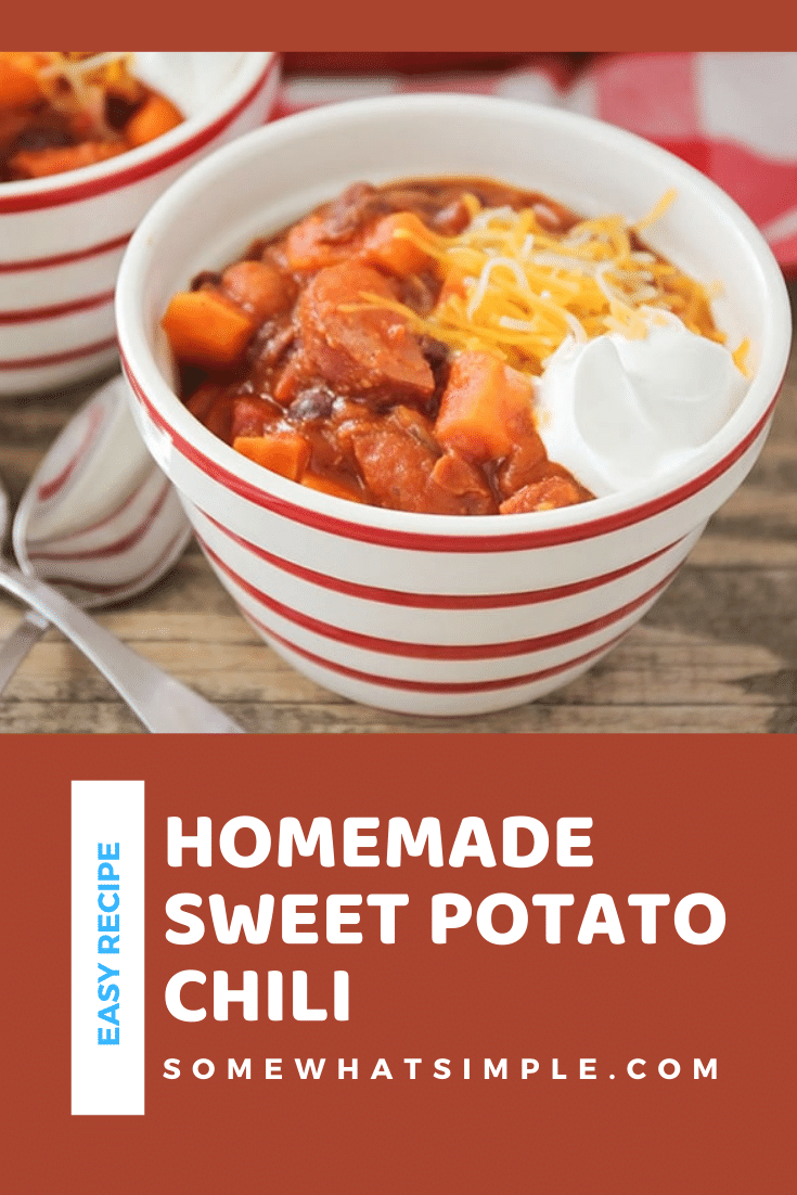 This savory and hearty turkey sausage sweet potato chili recipe is the perfect dinner for a chilly fall evening. It's made with sweet potatoes, black beans, sausage and a blend of delicious spices. It's so easy to make, it only takes 10 minutes to prep. I promise you'll love this homemade chili recipe. via @somewhatsimple