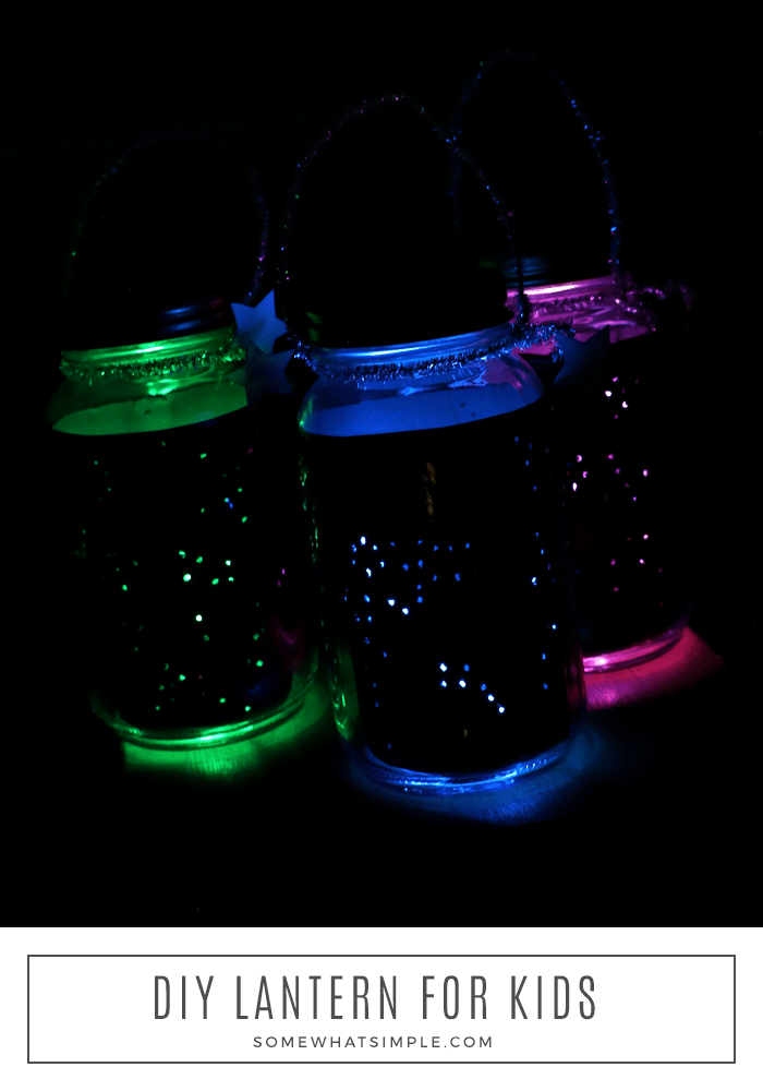 DIY Lanterns are a simple craft your kids will love! Made with a few simple supplies, this project is easy to make, it's mess-free, and it's totally fun! #lantern #masonjar #kidscraft via @somewhatsimple