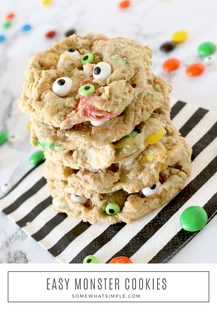 Monster cookies are loaded with the delicious combination of chocolate chips, M&Ms and oatmeal. Decorate them with candy monster eyes and they make the perfect Halloween cookie recipe. This recipe is so easy, the cookies will be done in about 20 minutes. via @somewhatsimple