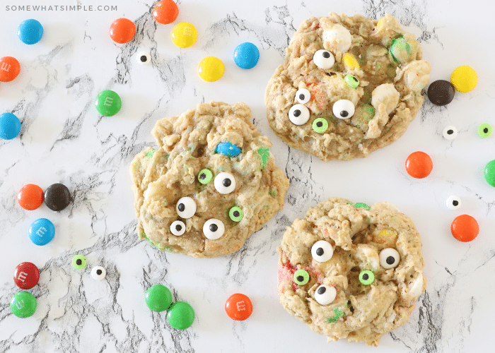 monster cookies with candy eyes