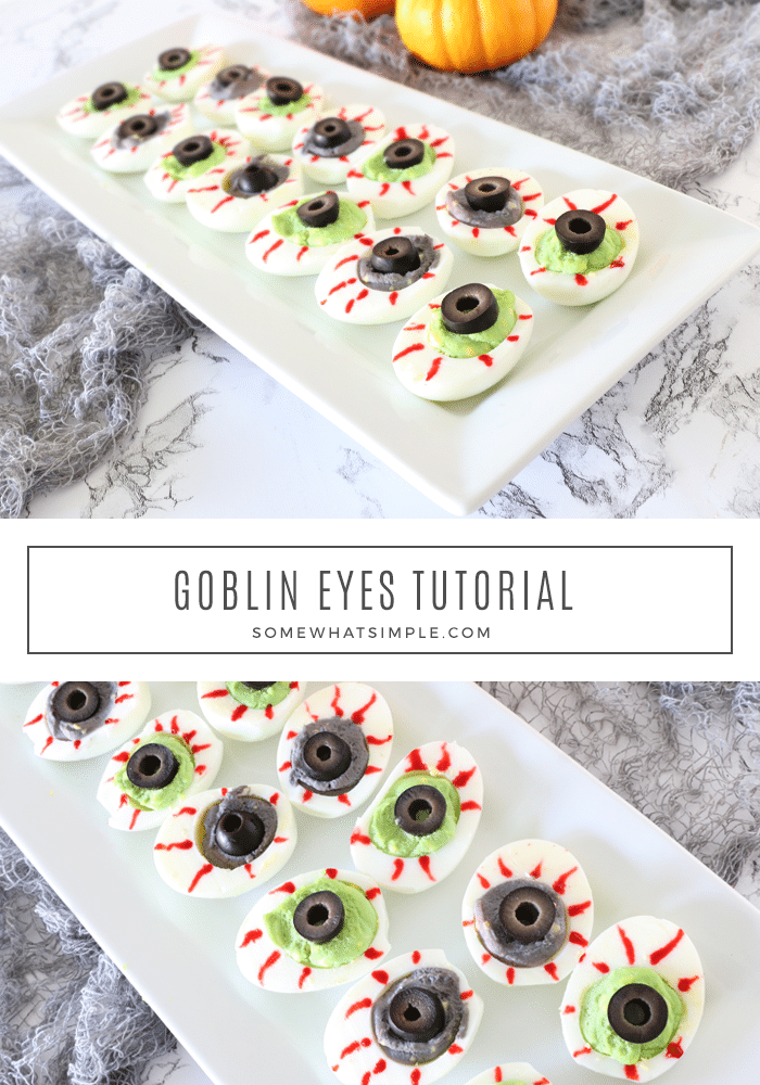 Goblin Eyes are a festive food for a Halloween party that taste great too! These delicious appetizers are super easy to make and make the perfect starter. Just take a regular deviled egg and make a few minor modifications and you're all set! via @somewhatsimple