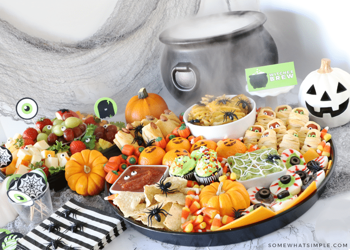 halloween lunch for kids with spooky foods on a tray