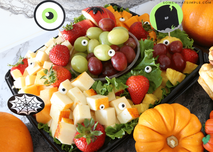 fruit and cheese tray with candy eyeballs for halloween