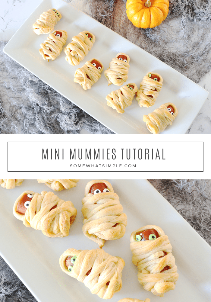 Mummy Hot Dogs are a hit with kids and Halloween party guests! They're a festive Halloween treat that's simple to make and delicious too! They're super easy to make by wrapping hot dogs in some crescent roll dough. They make the perfect Halloween snack or lunch recipe. via @somewhatsimple