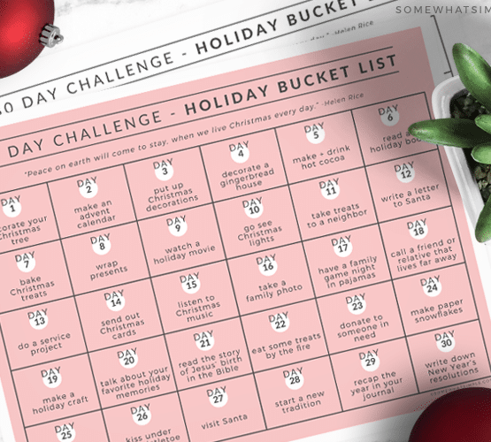 printable holiday bucket list