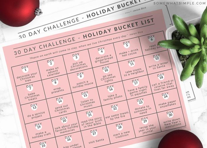 printable holiday bucket list