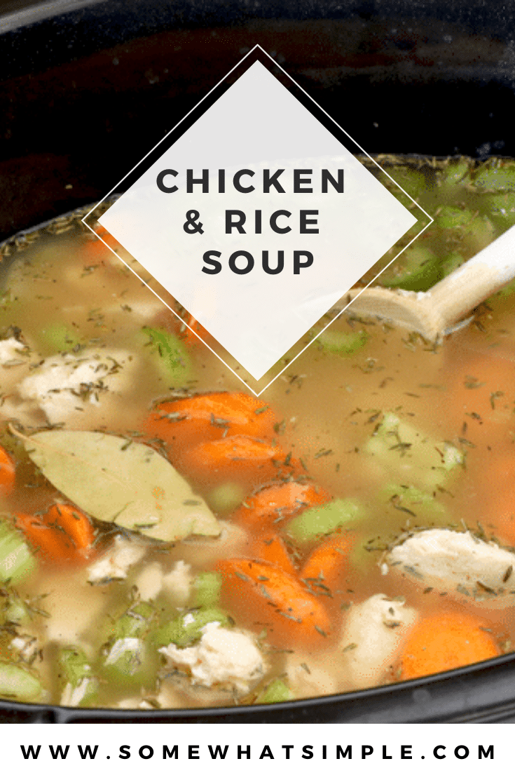 Crock Pot Chicken and Rice Soup is packed with brown rice, tender chicken, and fresh vegetables. It's so easy to make, that it only takes a few minutes to prep. Just throw all of the ingredients into the slow cooker and let it do the cooking. This comforting soup is perfect to enjoy when it's cold and tastes amazing! via @somewhatsimple