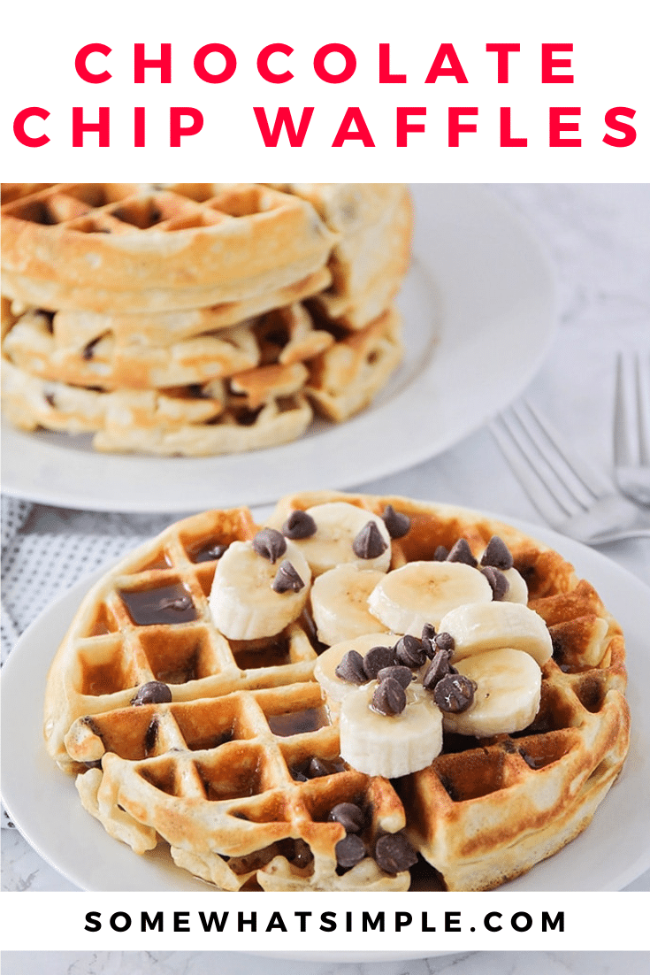 These fluffy and crisp chocolate chip waffles are the perfect sweet treat to make breakfast extra special! Made from scratch, these homemade waffles are simple to make and so delicious! These waffles are perfect for celebrating that special occasion or just making a Sunday breakfast extra sweet! via @somewhatsimple