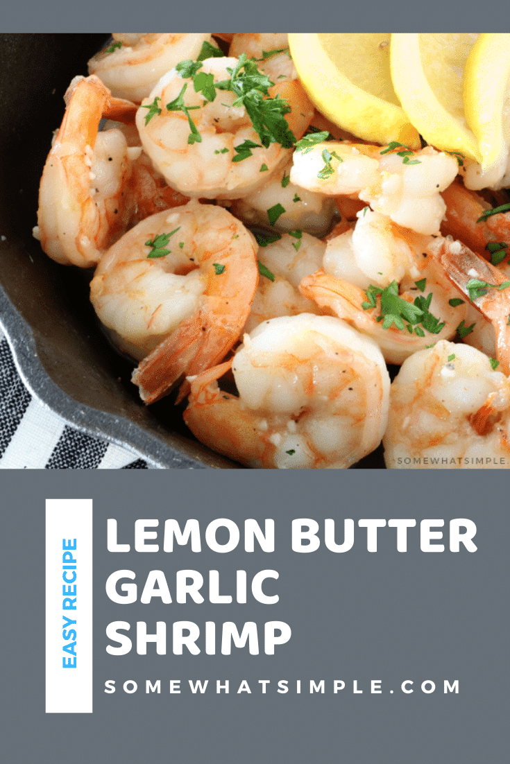 Garlic butter shrimp is an easy dinner or appetizer recipe. It doesn't get any better than jumbo shrimp smothered in an a delicious lemon garlic butter sauce. The recipe is so simple, it takes only 20 minutes to make, uses only a few basic ingredients and you only need one pan to make it. This is the perfect meal for the seafood lover in your family. via @somewhatsimple