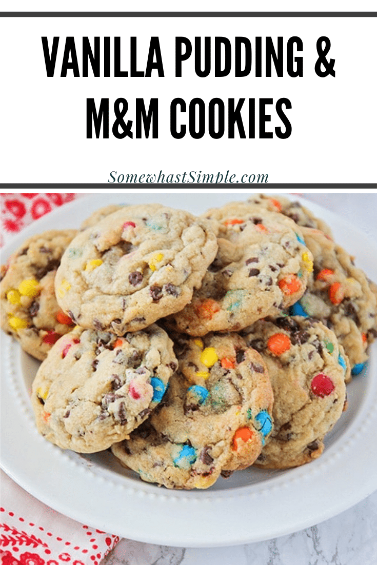 These soft and chewy M&M chocolate chip pudding cookies are so easy to make! Made with vanilla pudding, M&Ms and chocolate chips, these cookies are irresistable! Plus, they turn out soft and delicious every time. via @somewhatsimple