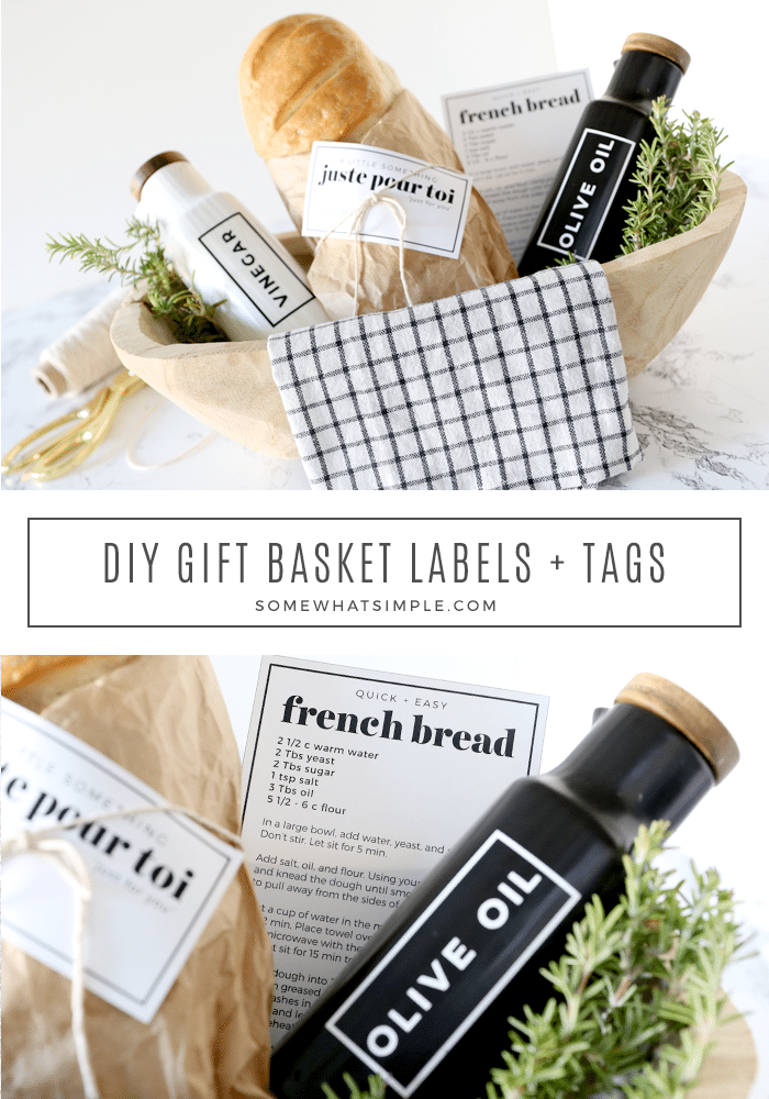 This delicious gift basket is the perfect way to share some love (and carbs!) with a neighbor or friend. With homemade bread and some darling oil + vinegar bottles, holiday gifting just got so much easier, and tastier too! #gift #basket #bread #oliveoil #vinegar via @somewhatsimple