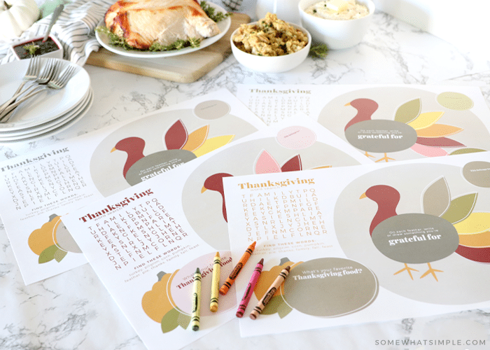 printable thanksgiving placemats in front of thanksgiving food