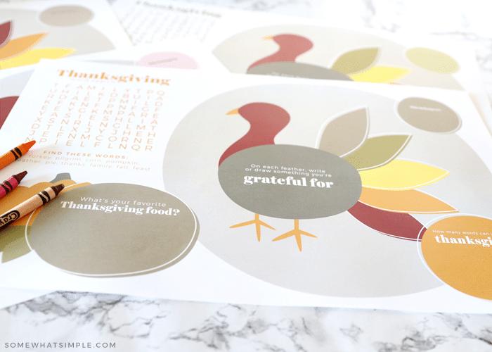 printable turkey placemats