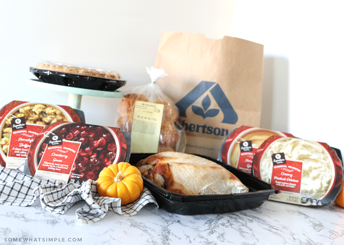 set up of thanksgiving food, purchased at albertsons